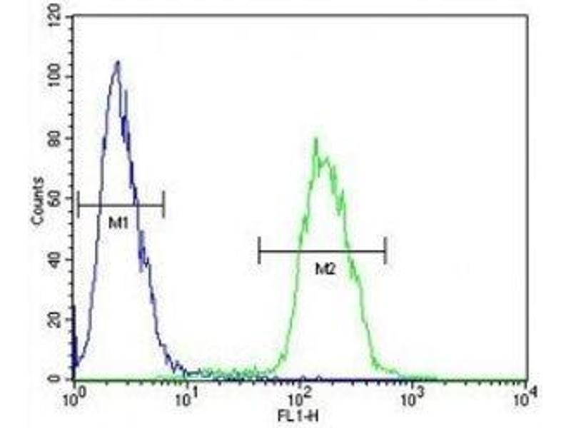 Flow Cytometry (FACS) image for anti-C-MYC antibody (V-Myc Myelocytomatosis Viral Oncogene Homolog (Avian)) (AA 40-69) (ABIN3029538)