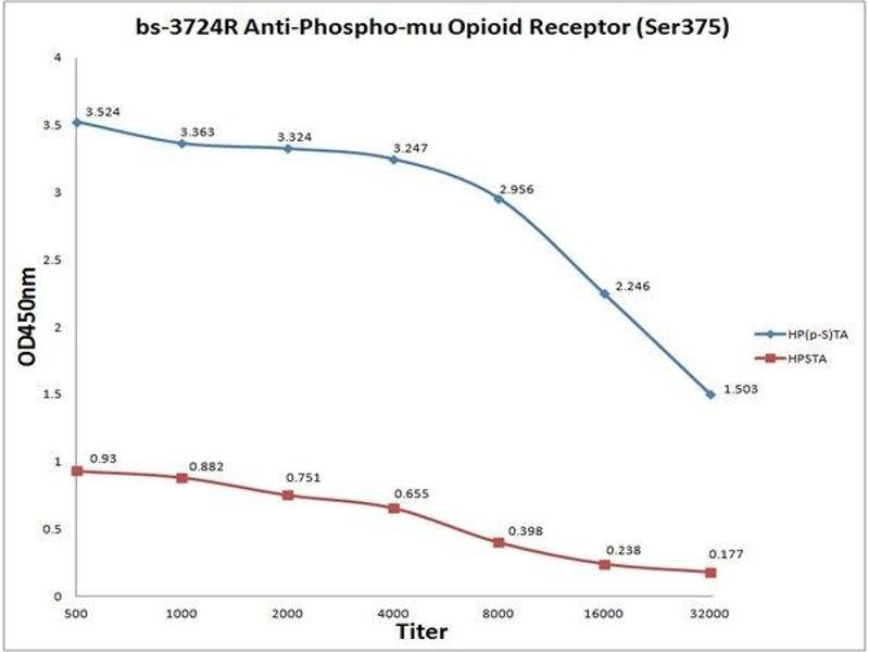 ELISA image for anti-Opioid Receptor, mu 1 (OPRM1) (AA 350-398), (pSer375) antibody (ABIN703210)