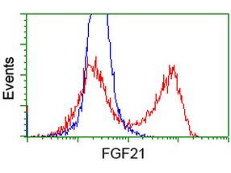 Flow Cytometry (FACS) image for anti-FGF21 antibody (Fibroblast Growth Factor 21) (AA 29-209) (ABIN2454489)