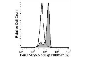 Flow Cytometry (FACS) image for anti-MAP kinase p38 (p38) (pThr180) antibody (Pacific Blue) (ABIN1177120)