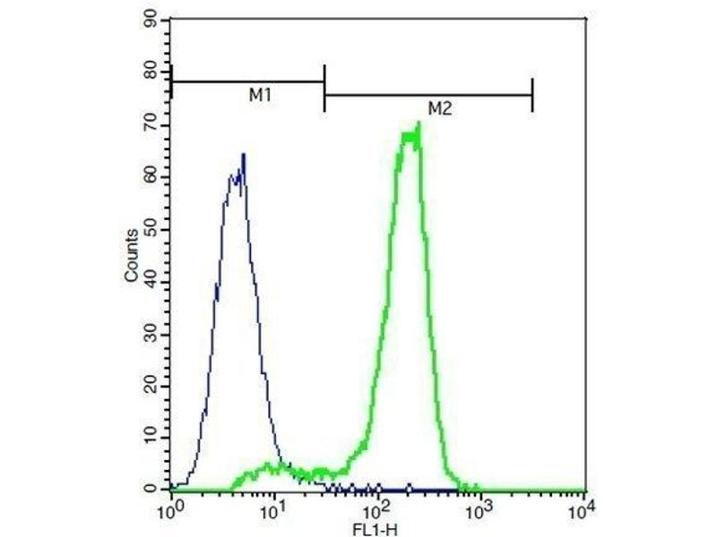 Flow Cytometry (FACS) image for anti-CSF1 antibody (Colony Stimulating Factor 1 (Macrophage)) (AA 235-265) (ABIN1387727)