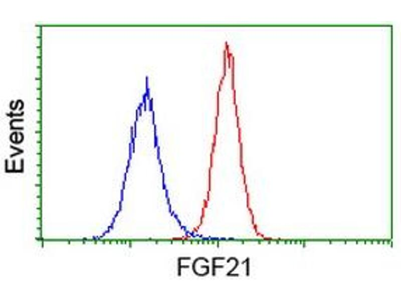 Flow Cytometry (FACS) image for anti-FGF21 antibody (Fibroblast Growth Factor 21) (AA 29-209) (ABIN2454488)