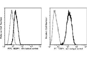 Flow Cytometry (FACS) image for anti-EIF4EBP1 antibody (Eukaryotic Translation Initiation Factor 4E Binding Protein 1) (AA 2-118) (FITC) (ABIN1995476)